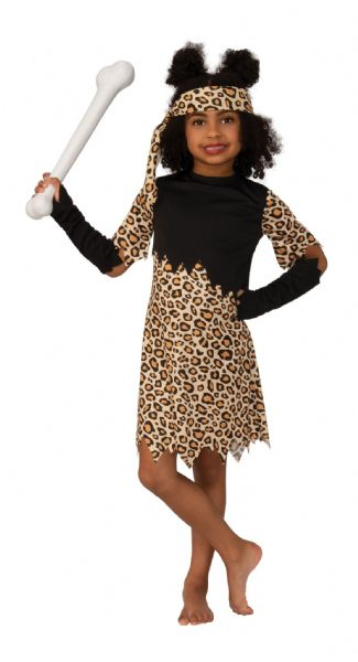 Cave Girl Childs Prehistoric Fancy Dress Costume